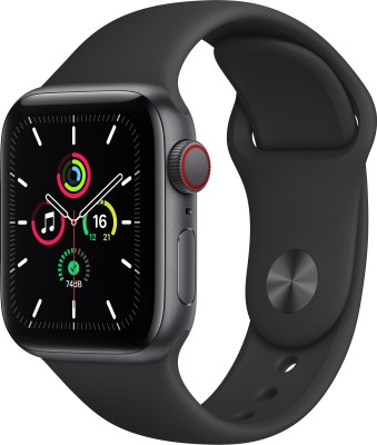 APPLE Watch SE GPS + Cellular 40 mm Space Grey Aluminium Case with Black Sport Band(Black Strap, Regular)