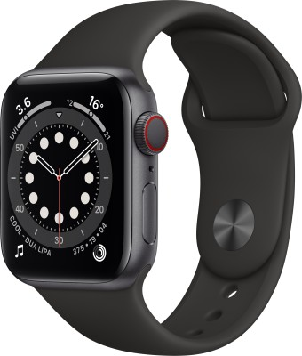 Apple Watch Series 6 GPS + Cellular 40 mm Space Grey Aluminium Case with Black Sport Band(Black Strap, Regular)
