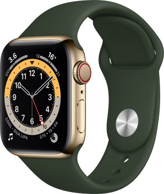 APPLE Watch Series 6 GPS + Cellular 40 mm Gold Stainless Steel Case with Cyprus Green Sport Band(Green Strap, Regular)