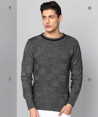 METRONAUT Woven Crew Neck Casual Men Grey Sweater