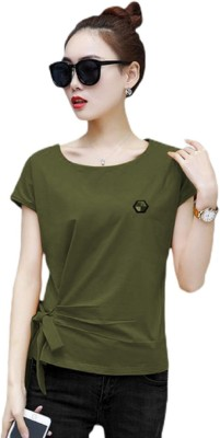 Rebound Casual Regular Sleeve Solid Women Green Top