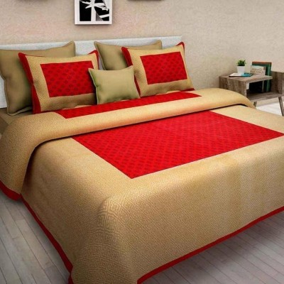 Diva Collection 150 TC Cotton Double Printed Bedsheet(Pack of 1, Red)