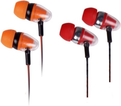 Family Occasion Ultra Bass With HD Sound Combo Earphone(Pack Of 2) Wired Headset(Orange, Red, In the Ear)