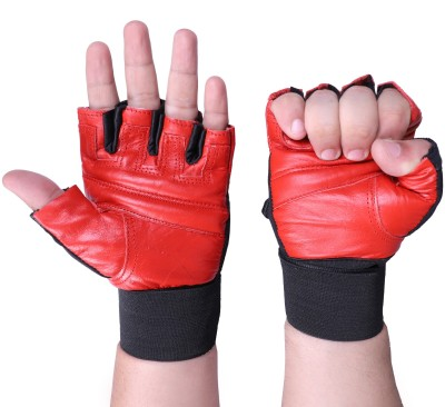 Vista RED LEATHER Gym & Fitness Gloves(Red)