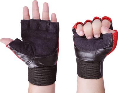 Vista RED LEATHER Gym & Fitness Gloves(RED BLACK)