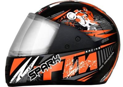 RACING FULL FACE SPORT HELMET Motorbike Helmet(Black, Orange)