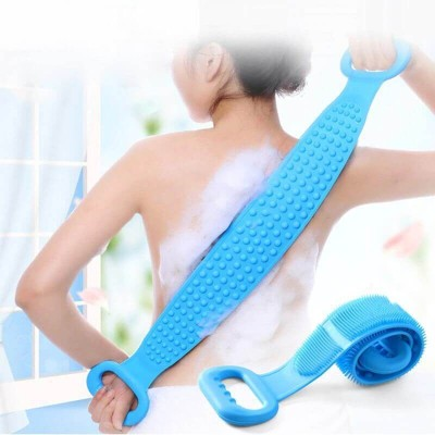 Fixfeels Body scrubber Silicone Bath Body scrubber Double side body wash bath scrubber Belt Massager(Multicolor)
