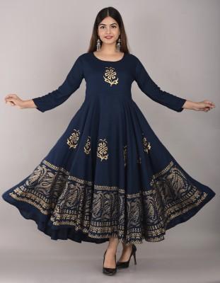 Lee Moda Women Printed Anarkali Kurta(Blue)