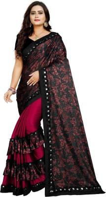 ksevencreation Printed, Embellished Fashion Lycra Blend Saree(Maroon)
