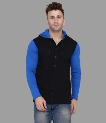 Tfurnish Men Color Block Casual Blue, Black Shirt