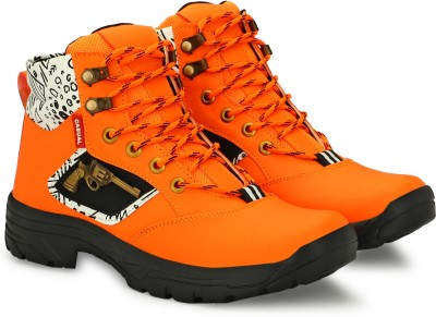 hzisbo Boots For Men(Orange, Black)