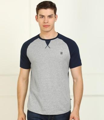 Billion Color Block Men Round Neck Dark Blue, Grey T-Shirt