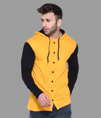 Tfurnish Men Color Block Casual Black, Yellow Shirt