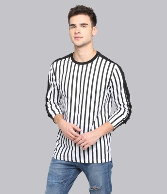 JUST DRESS BETTER Vertical Stripes Men Round Neck White T-Shirt