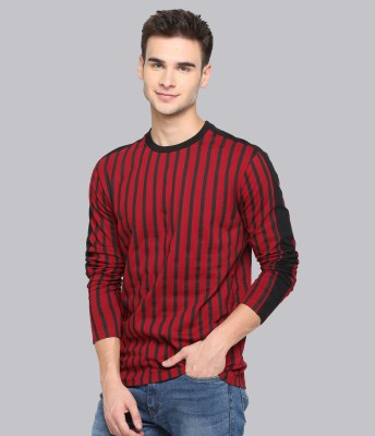 JUST DRESS BETTER Vertical Stripes Men Round Neck Maroon T-Shirt