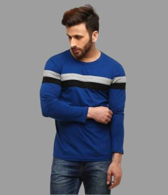 FastColors Solid Men Round Neck Dark Blue, Black, Grey T-Shirt