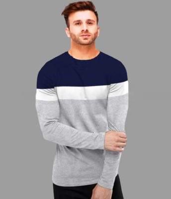 FastColors Solid Men Round Neck Blue, Grey T-Shirt