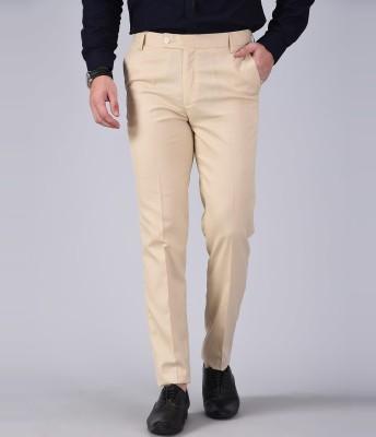 AD & AV Regular Fit Men Cream Trousers