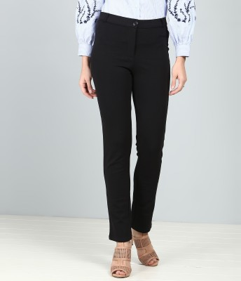 AND Slim Fit Women Black Trousers