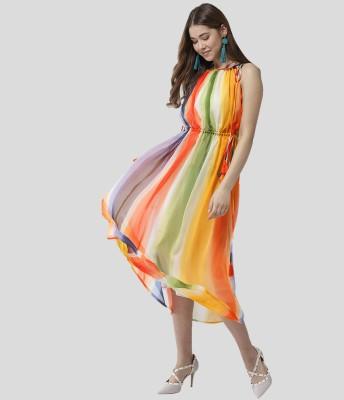 STYLESTONE Women Cinched Waist Multicolor Dress