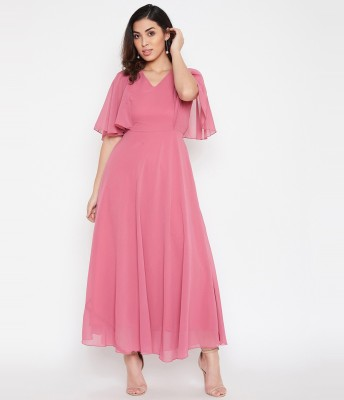 HELLO DESIGN Women Maxi Pink Dress
