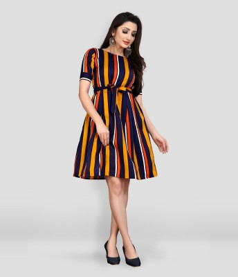 MAA FAB Women A-line Orange Dress