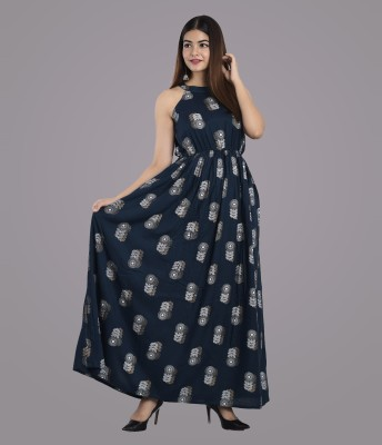 METRO-FASHION Women Maxi Dark Blue, White Dress