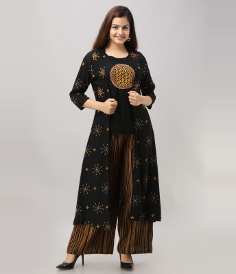 Nehamta Women Ethnic Jacket, Top and Palazzo Set
