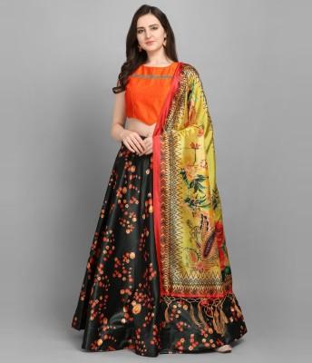 SAARA Digital Print, Floral Print Semi Stitched Lehenga Choli(Black, Orange)