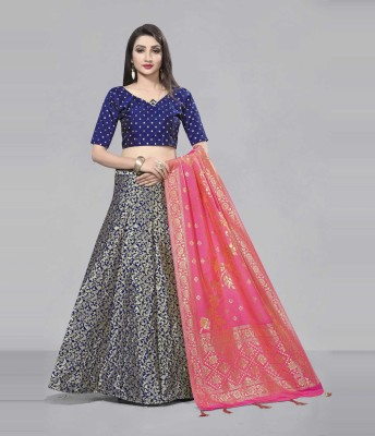 Divastri Self Design Semi Stitched Lehenga & Crop Top(Pink, Dark Blue)