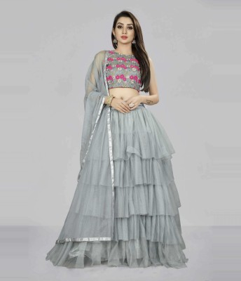 Divastri Solid, Embroidered Semi Stitched Lehenga Choli(Grey)