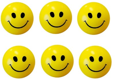 VINAY PANJGOTRA Smiley Face Squeeze Ball Pack of 6   3 inch Yellow VINAY PANJGOTRA Soft Toys