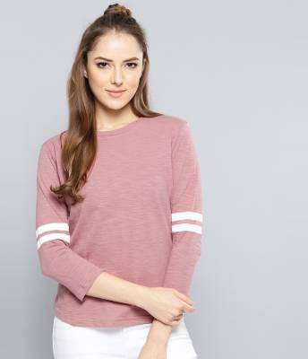 Harpa Casual Regular Sleeve Solid Women Pink Top
