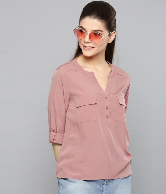 HARPA Casual Roll-up Sleeve Solid Women Pink Top