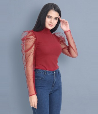 BuyNewTrend Casual Puff Sleeve Solid Women Maroon Top