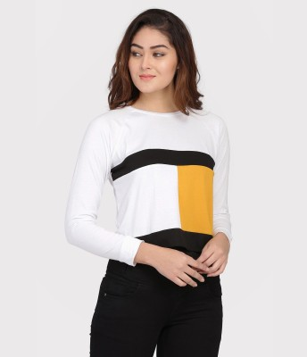 DUENITE Casual Regular Sleeve Color Block Women White, Black, Yellow Top