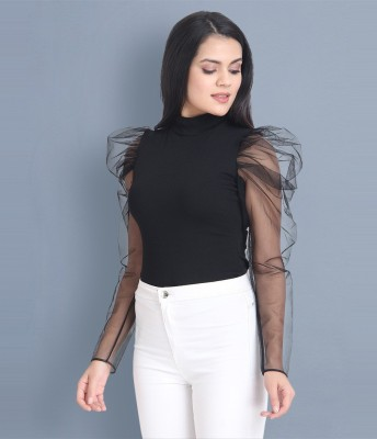 BuyNewTrend Casual Full Sleeve Solid Women Black Top