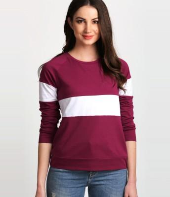 Aelomart Casual Regular Sleeve Color Block Women White, Maroon Top