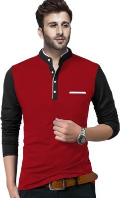 BLIVE Solid Men Henley Neck Red, Black T-Shirt