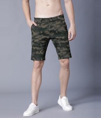 Highlander Printed Men Green, Beige Regular Shorts