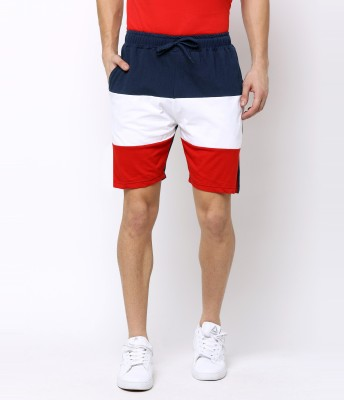 MANIAC Color Block Men Dark Blue, Red, White Basic Shorts