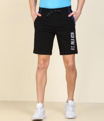 U.S. POLO ASSN. Solid Men Black Sports Shorts