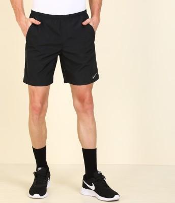 NIKE Solid Men Black Running Shorts