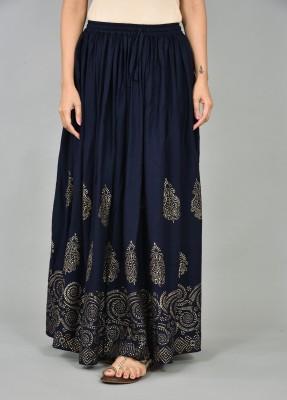 NEGEN Printed Women Flared Blue, Gold Skirt