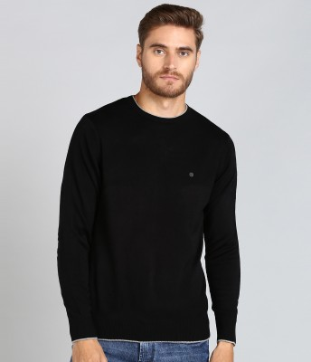 Numero Uno Solid Round Neck Casual Men Black Sweater