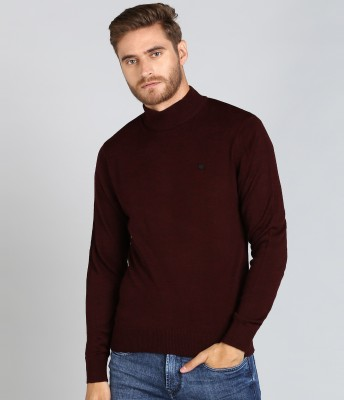 Numero Uno Solid Turtle Neck Casual Men Maroon Sweater