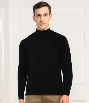 NUMERO UNO Solid Turtle Neck Casual Men Black Sweater