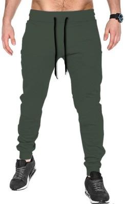 TRIPR Solid Men Dark Green Track Pants