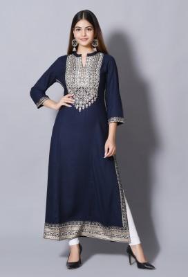 DURGSHREE Women Embellished A-line Kurta(Dark Blue)