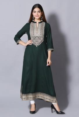 DURGSHREE Women Embellished A-line Kurta(Dark Green)